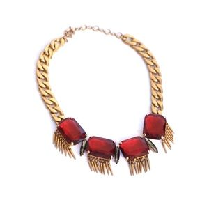 J.Crew Red Crystal Statement Necklace